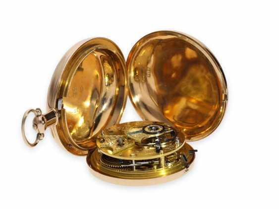 Pocket watch: extremely heavy gold-Savonnette with computing anchor escapement and seconds stop, Whitehurst & Son Derby No. 2563, Hallmarks 1810 - photo 3