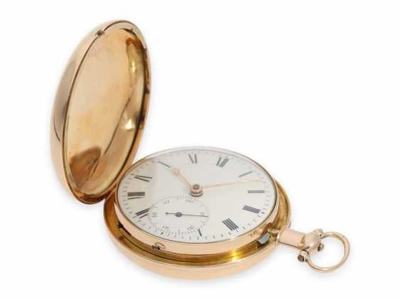 Pocket watch: extremely heavy gold-Savonnette with computing anchor escapement and seconds stop, Whitehurst & Son Derby No. 2563, Hallmarks 1810 - photo 6