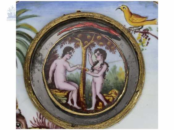 Pocket watch: extremely rare Spindeluhr with enamel-painting, and Adam & Eva machine according to the Patent of Rigonaud, CA. 1800 - photo 1