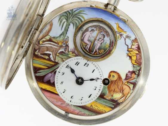 Pocket watch: extremely rare Spindeluhr with enamel-painting, and Adam & Eva machine according to the Patent of Rigonaud, CA. 1800 - photo 2