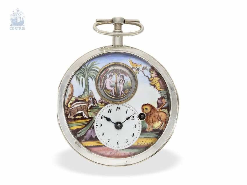 Pocket watch: extremely rare Spindeluhr with enamel-painting, and Adam & Eva machine according to the Patent of Rigonaud, CA. 1800 - photo 3