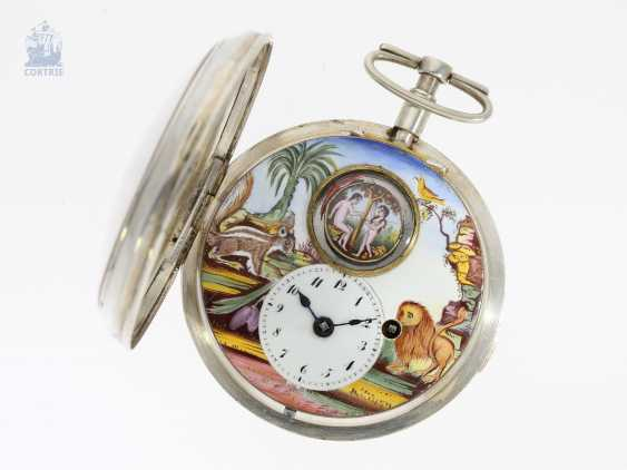 Pocket watch: extremely rare Spindeluhr with enamel-painting, and Adam & Eva machine according to the Patent of Rigonaud, CA. 1800 - photo 5
