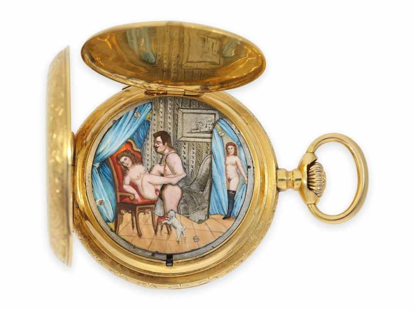 Pocket watch: heavy 18K pomp savonnette with Repetition and hidden erotic automaton, CA. 1910, signed Marchand & Sandoz - photo 1
