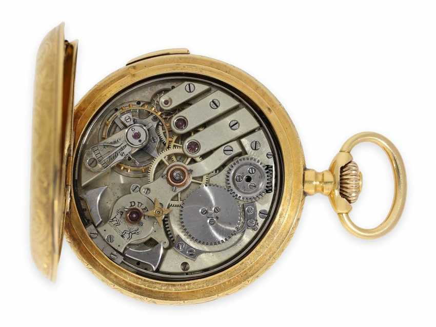 Pocket watch: heavy 18K pomp savonnette with Repetition and hidden erotic automaton, CA. 1910, signed Marchand & Sandoz - photo 3