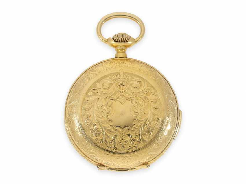 Pocket watch: heavy 18K pomp savonnette with Repetition and hidden erotic automaton, CA. 1910, signed Marchand & Sandoz - photo 4