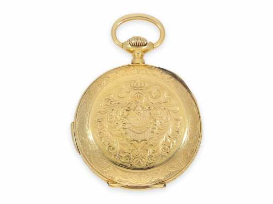 Pocket watch: heavy 18K pomp savonnette with Repetition and hidden erotic automaton, CA. 1910, signed Marchand & Sandoz - photo 5