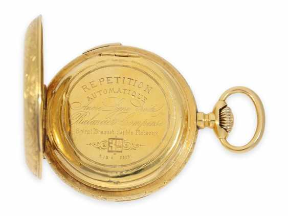 Pocket watch: heavy 18K pomp savonnette with Repetition and hidden erotic automaton, CA. 1910, signed Marchand & Sandoz - photo 6