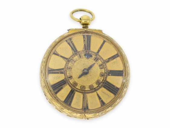 Pocket watch: extremely rare, large early London Halsuhr with Alarm, Henry Godfrey, London, CA. 1685 - photo 1