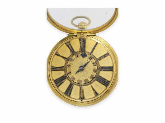 Pocket watch: extremely rare, large early London Halsuhr with Alarm, Henry Godfrey, London, CA. 1685 - photo 7