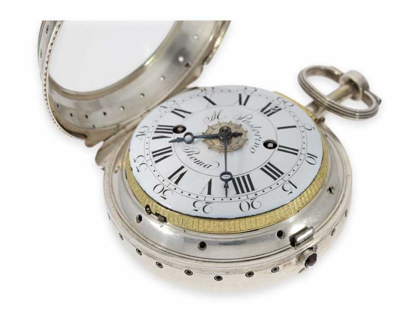 Pocket watch/Karossenuhr: extremely rare Italian Karossenuhr with Repetition and alarm, Mauro Pastorino Roma, CA. 1780 - photo 3