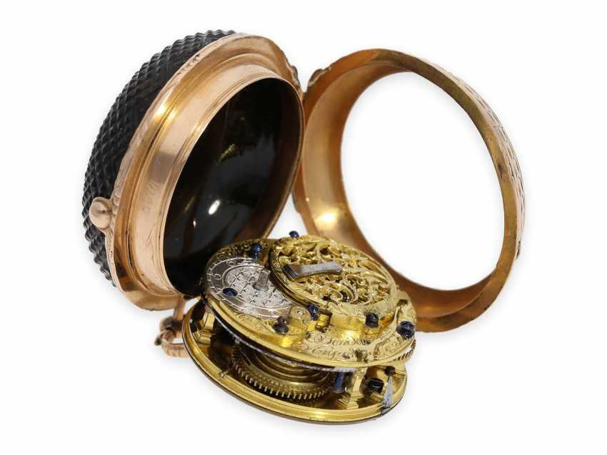 Pocket watch: gold Augsburg Louis XV pocket watch with an extremely rare Onyx-housing, John Michael Bendele, Augspurg No. 23, CA. 1770 - photo 8