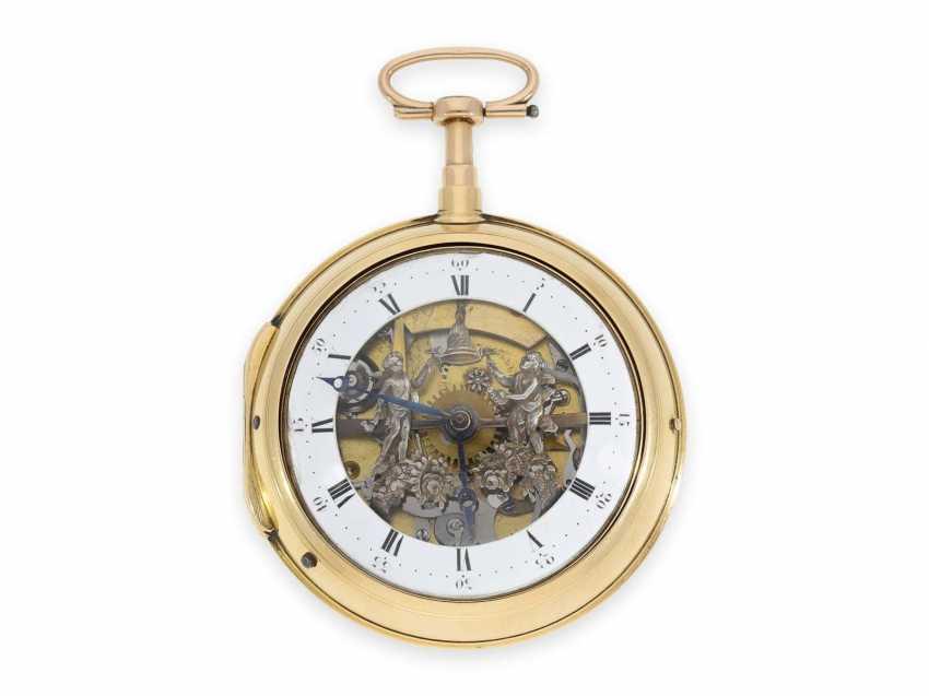 Карманные часы: особо тяжелые шведские двойной корпус-Spindeluhr с ударным механизмом и фигурка автомат, около 1800 - фото 1