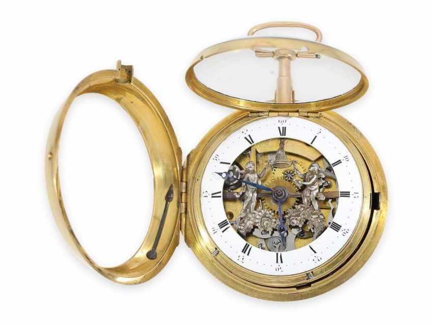 Карманные часы: особо тяжелые шведские двойной корпус-Spindeluhr с ударным механизмом и фигурка автомат, около 1800 - фото 2