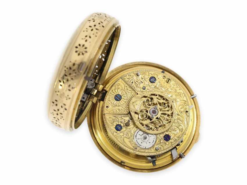 Карманные часы: особо тяжелые шведские двойной корпус-Spindeluhr с ударным механизмом и фигурка автомат, около 1800 - фото 6