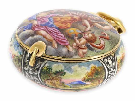 "Taschenuhr/Halsuhr: extrem rare, museale ""Schule von Blois"" Gold/Emaille-Halsuhr, signiert Francois Laurier Blois, ca.1640/1650 - Foto 1"