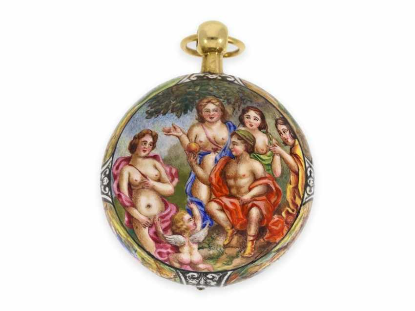 "Taschenuhr/Halsuhr: extrem rare, museale ""Schule von Blois"" Gold/Emaille-Halsuhr, signiert Francois Laurier Blois, ca.1640/1650 - Foto 3"