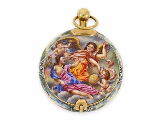 "Taschenuhr/Halsuhr: extrem rare, museale ""Schule von Blois"" Gold/Emaille-Halsuhr, signiert Francois Laurier Blois, ca.1640/1650 - Foto 5"