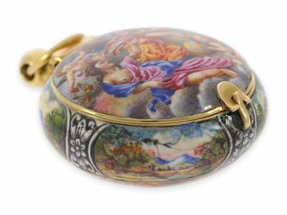 "Taschenuhr/Halsuhr: extrem rare, museale ""Schule von Blois"" Gold/Emaille-Halsuhr, signiert Francois Laurier Blois, ca.1640/1650 - Foto 7"