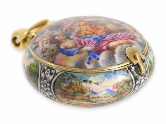 "Taschenuhr/Halsuhr: extrem rare, museale ""Schule von Blois"" Gold/Emaille-Halsuhr, signiert Francois Laurier Blois, ca.1640/1650 - Foto 8"