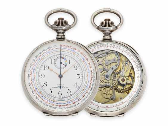 """Pocket watch: extremely rare, especially large double-sided Omega pocket chronograph, the so-called """"Chrono-Tachymeter Cadran Brevetè S. G. D. G"""" , CA. 1900 - photo 1"""