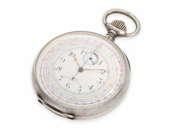 """Pocket watch: extremely rare, especially large double-sided Omega pocket chronograph, the so-called """"Chrono-Tachymeter Cadran Brevetè S. G. D. G"""" , CA. 1900 - photo 3"""