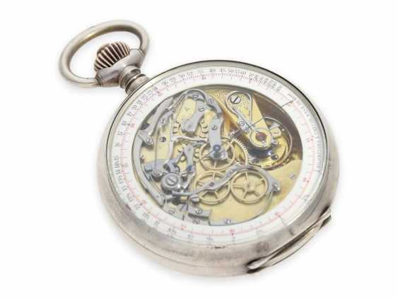"""Pocket watch: extremely rare, especially large double-sided Omega pocket chronograph, the so-called """"Chrono-Tachymeter Cadran Brevetè S. G. D. G"""" , CA. 1900 - photo 4"""