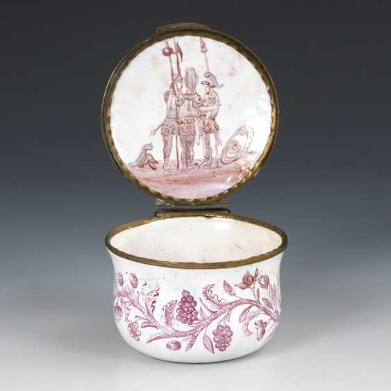 Round enamel box with purple painting - photo 2
