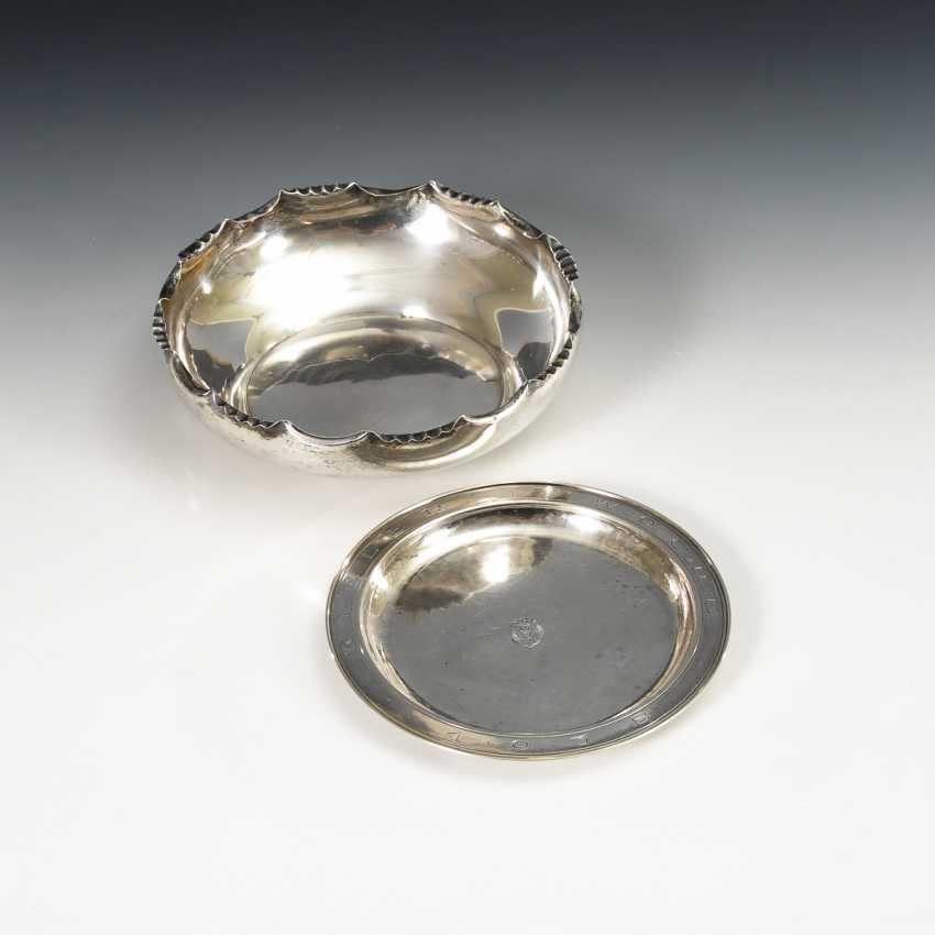 "Round bowl and plate, ""Kiel week"", silver - photo 1"