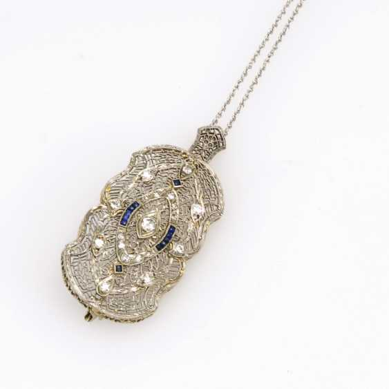 Art Deco pendant/brooch with brilliants, diamonds and sapphires, on chain - photo 2