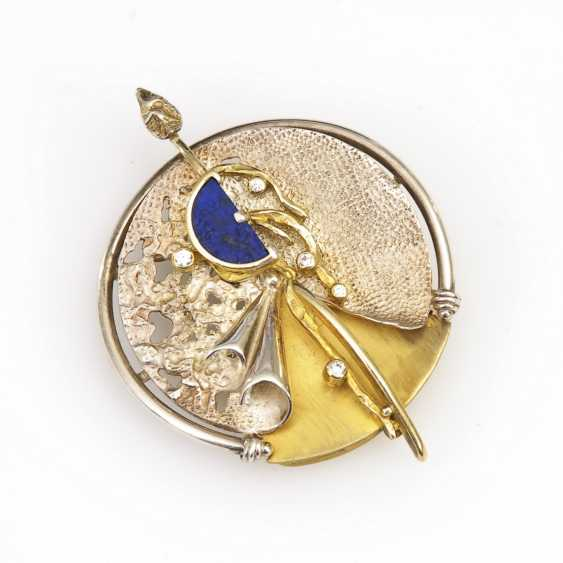 Designer pendant/brooch with Lapis and cubic zirconias - photo 1