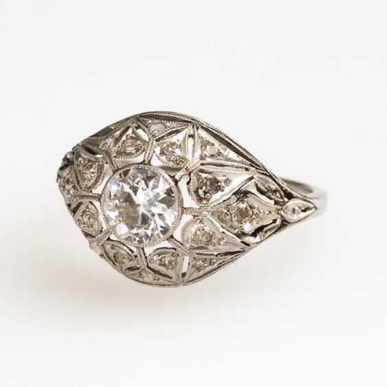 Арт-деко кольцо с altschliff бриллиант, алмазы и алмазные розы - фото 1
