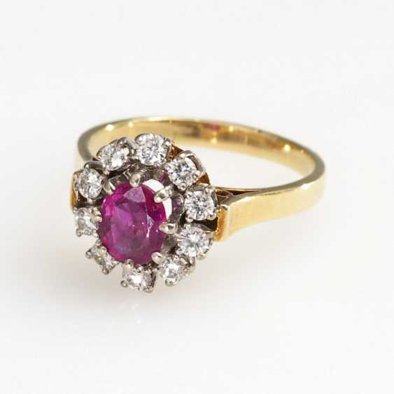 Entourage Ring with ruby and diamonds - photo 1
