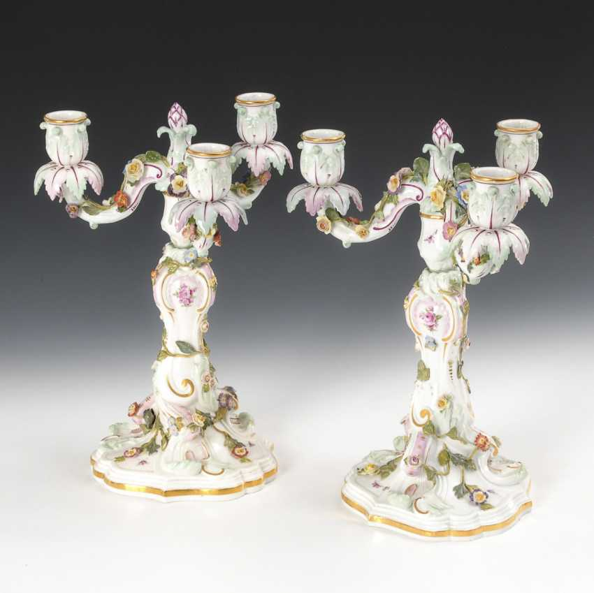 Pair of candlesticks, Meissen pommel swords, from 1850-1918, 1 choice - photo 1