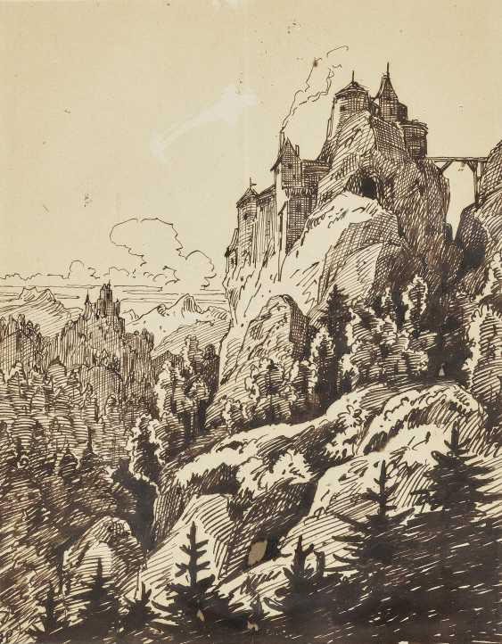 Пейзаж с замком , Pocci, граф Франц 1807 Мюнхен - 1876 там же - фото 1