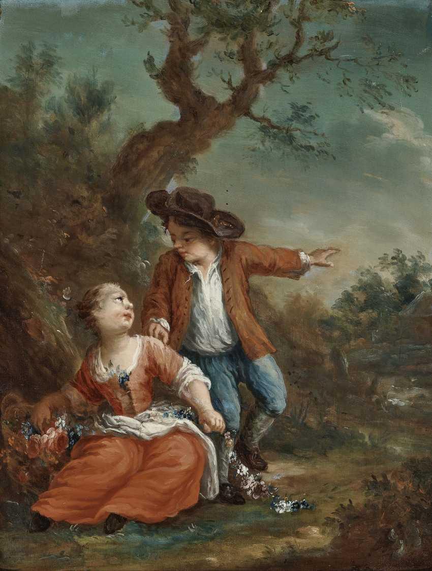 Galante childhood scenes in the tree landscape Two paintings. , Type of Seekatz, Johann Conrad 1719 green city - 1768 Darmstadt - photo 1