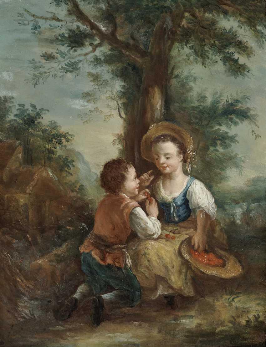 Galante childhood scenes in the tree landscape Two paintings. , Type of Seekatz, Johann Conrad 1719 green city - 1768 Darmstadt - photo 2