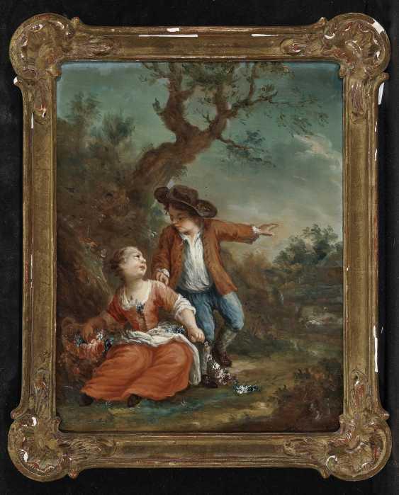 Galante childhood scenes in the tree landscape Two paintings. , Type of Seekatz, Johann Conrad 1719 green city - 1768 Darmstadt - photo 3