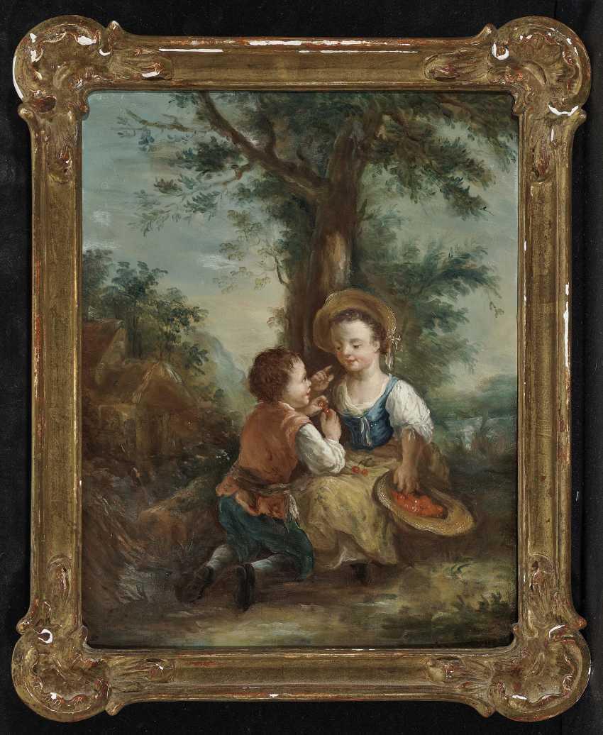 Galante childhood scenes in the tree landscape Two paintings. , Type of Seekatz, Johann Conrad 1719 green city - 1768 Darmstadt - photo 4