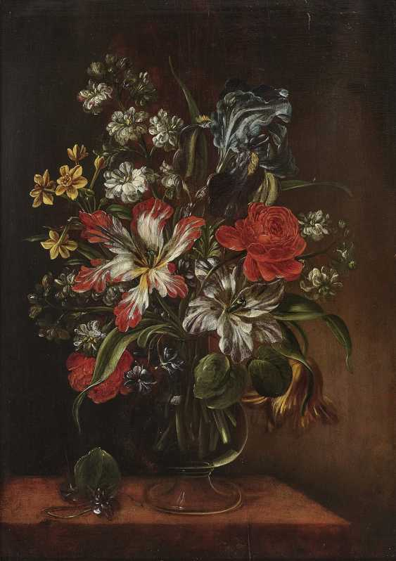 Bouquets of flowers in glass vases on stone plates and Two paintings. , Type of Hirscheli (Hirschel), Caspar to 1698 Prague to 1743, ibid. - photo 1