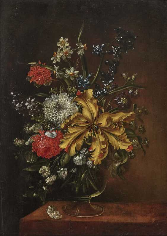 Bouquets of flowers in glass vases on stone plates and Two paintings. , Type of Hirscheli (Hirschel), Caspar to 1698 Prague to 1743, ibid. - photo 2