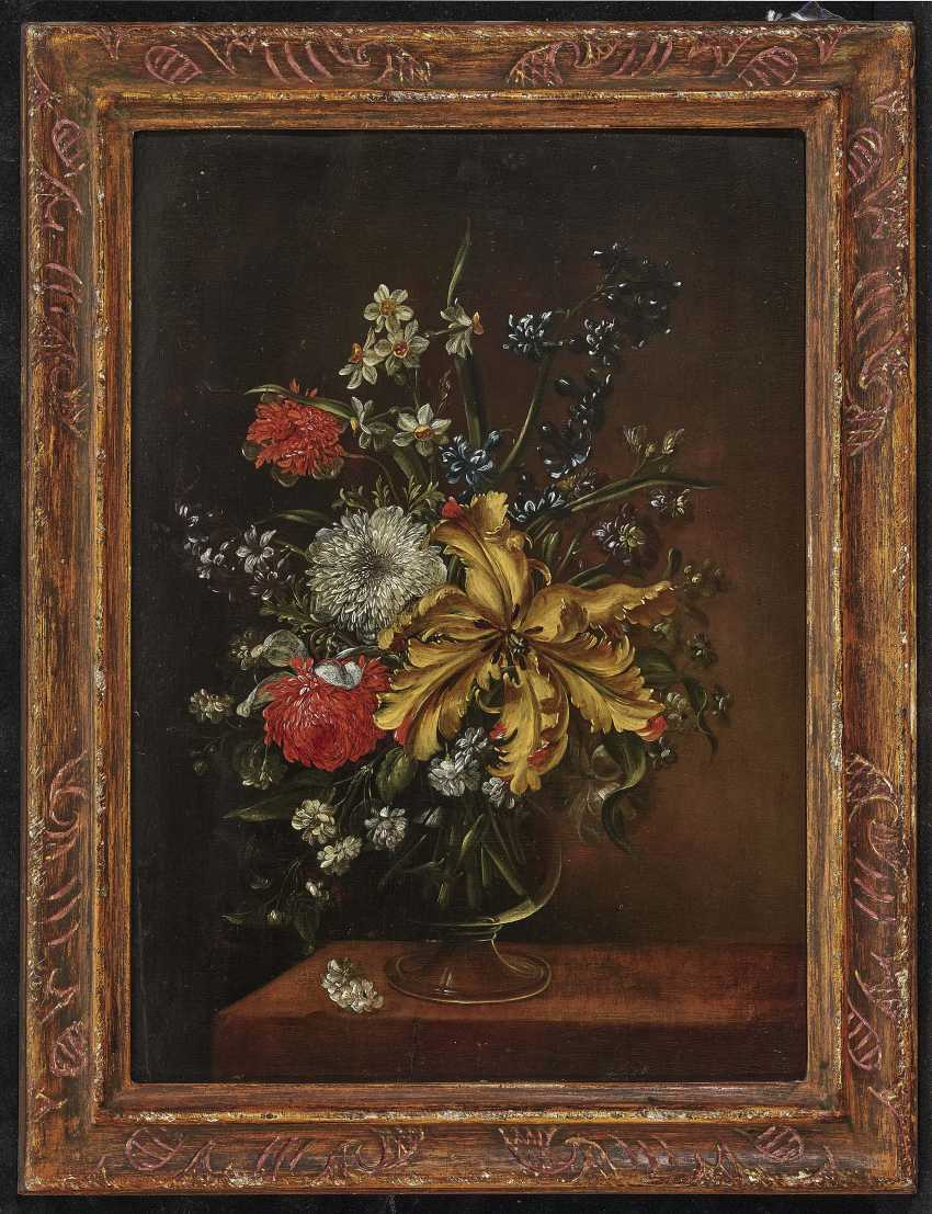 Bouquets of flowers in glass vases on stone plates and Two paintings. , Type of Hirscheli (Hirschel), Caspar to 1698 Prague to 1743, ibid. - photo 4