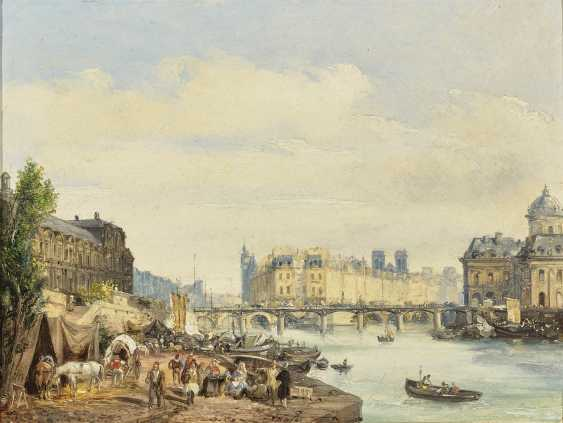 Paris - On the Seine , Moia (Moja), Federico, attributed to 1802 Milan - 1885 Dolo (Venice), attributed to - photo 1