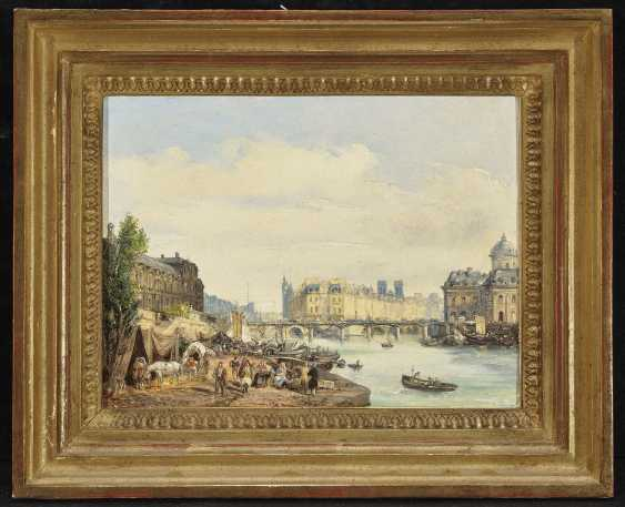 Paris - On the Seine , Moia (Moja), Federico, attributed to 1802 Milan - 1885 Dolo (Venice), attributed to - photo 2