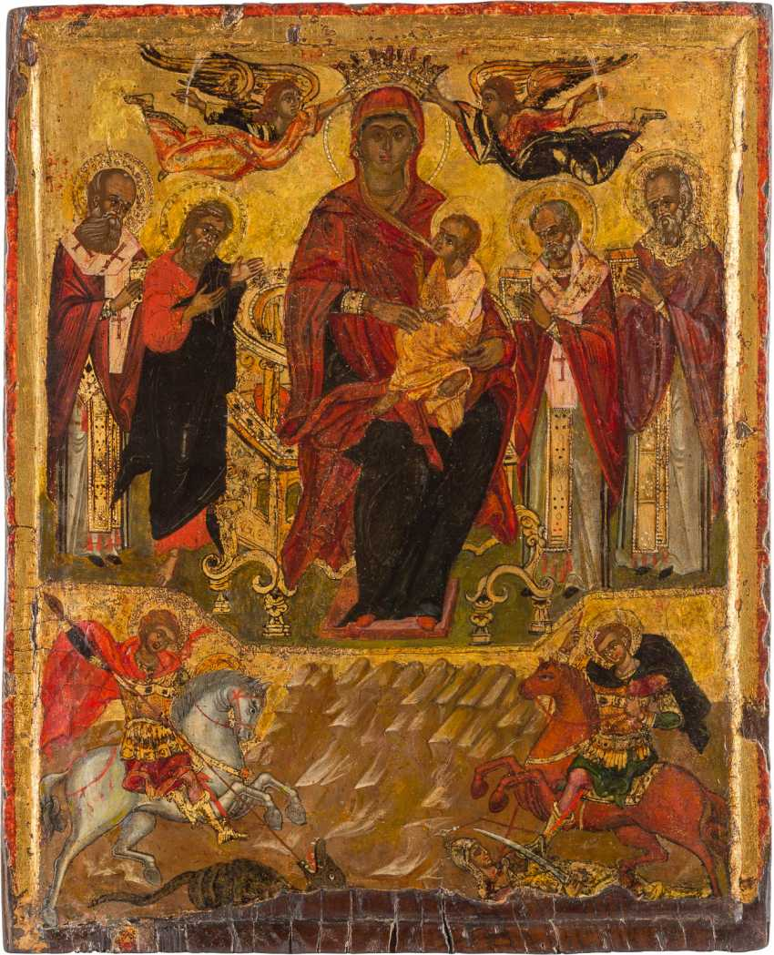 LARGE-FORMAT ICON WITH THE ENTHRONED MOTHER OF GOD AND SELECTED SAINTS - photo 1