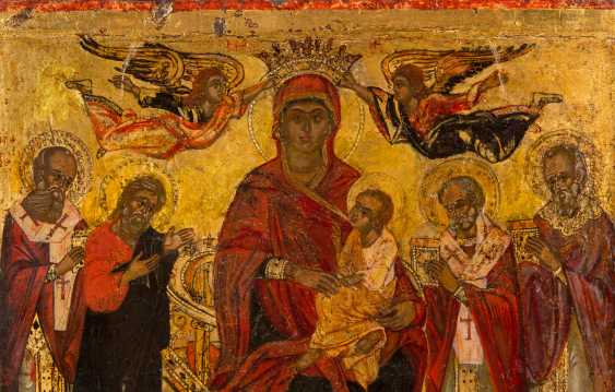 LARGE-FORMAT ICON WITH THE ENTHRONED MOTHER OF GOD AND SELECTED SAINTS - photo 2