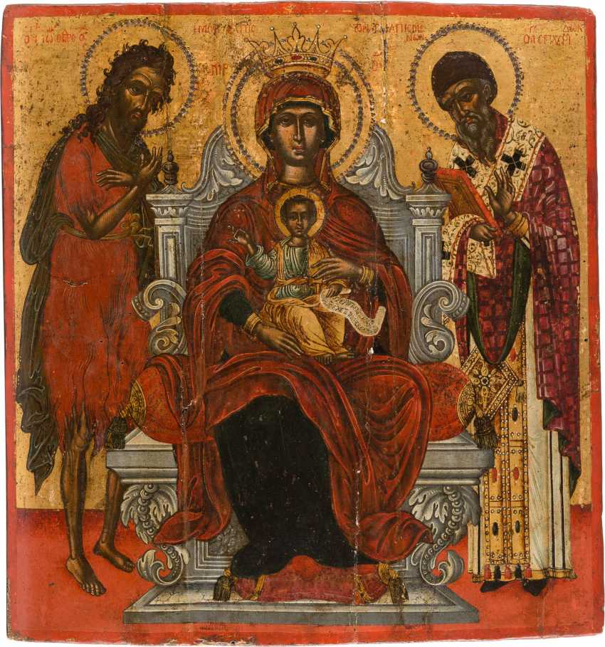 A BIG ICON WITH THE THRONE OF THE MOTHER OF GOD WITH THE HOLY JOHN THE PRECURSOR AND SPIRIDON OF CORFU - photo 1