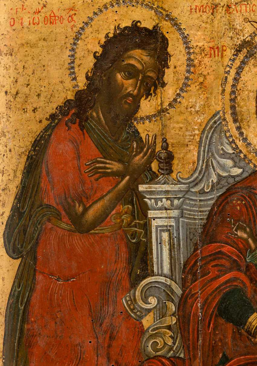 A BIG ICON WITH THE THRONE OF THE MOTHER OF GOD WITH THE HOLY JOHN THE PRECURSOR AND SPIRIDON OF CORFU - photo 4