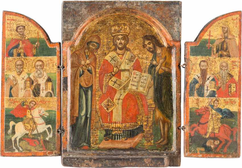TRIPTYCH WITH DEESIS, SAINTS, AND THE ARCHANGELS MICHAEL AND GABRIEL - photo 1