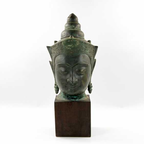 Bekrönter Kopf des Buddha. Wohl THAILAND Ayutthaya 18. Jahrhundert oder früher - photo 1
