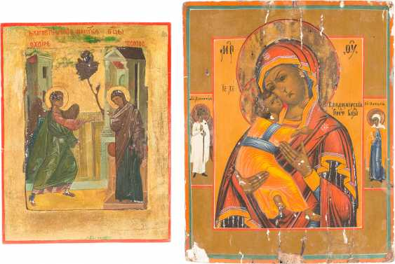 TWO ICONS: MOTHER OF GOD OF VLADIMIR AND THE ANNUNCIATION OF THE MOTHER OF GOD - photo 1